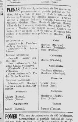 Plenas en la prensa 1931