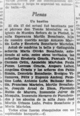 Plenas en la prensa 1935