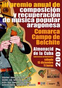 III Premio Anual de Composición y Recuperación de Música Popular Aragonesa Comarca Campo de Belchite